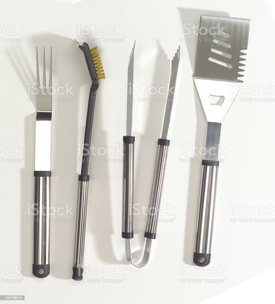 Chrome BBQ tool set stock photo