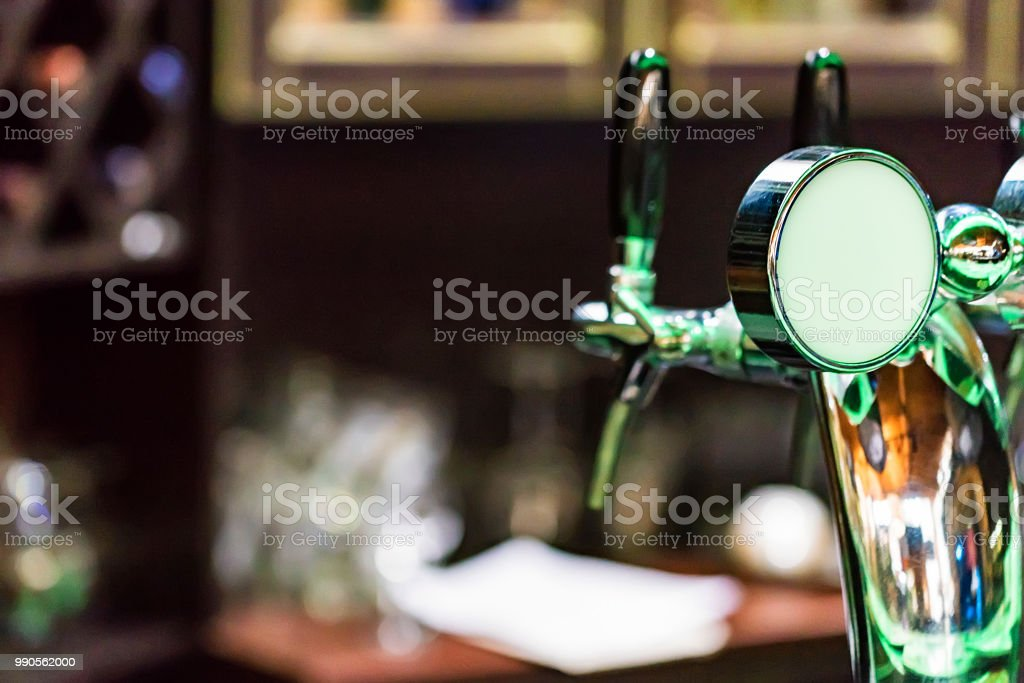 Chrome Beer Tap In Modern Bar   Stock Image .