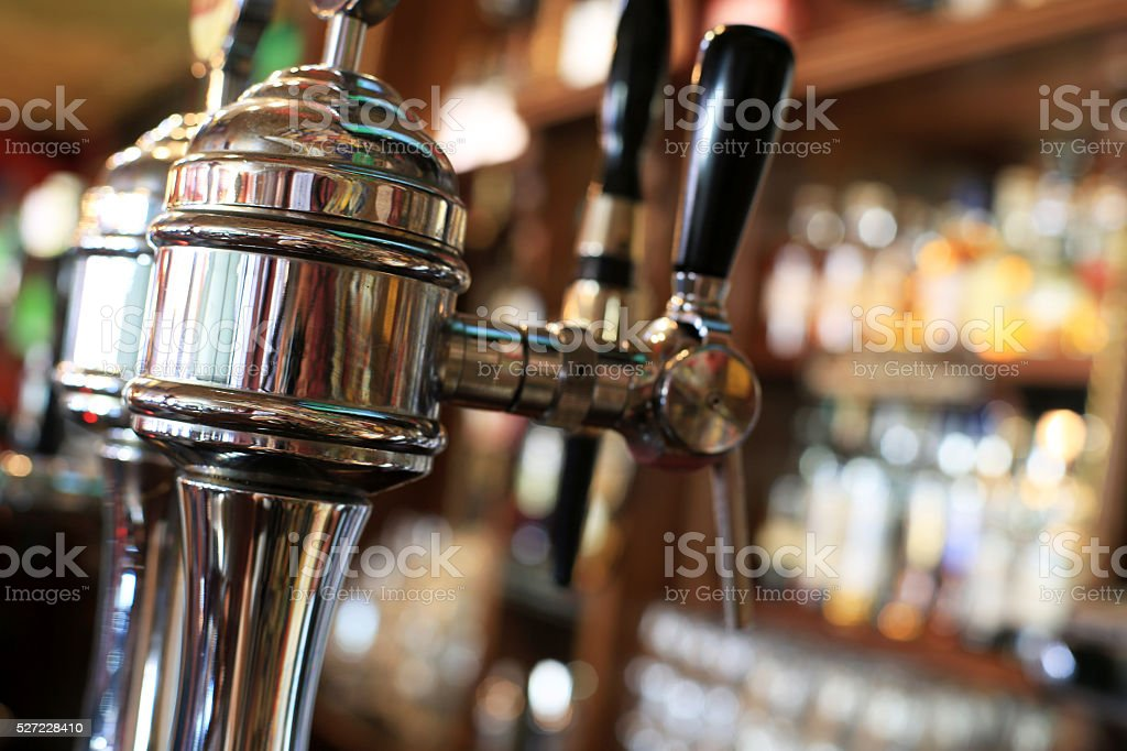 Chrome beer tap stock photo