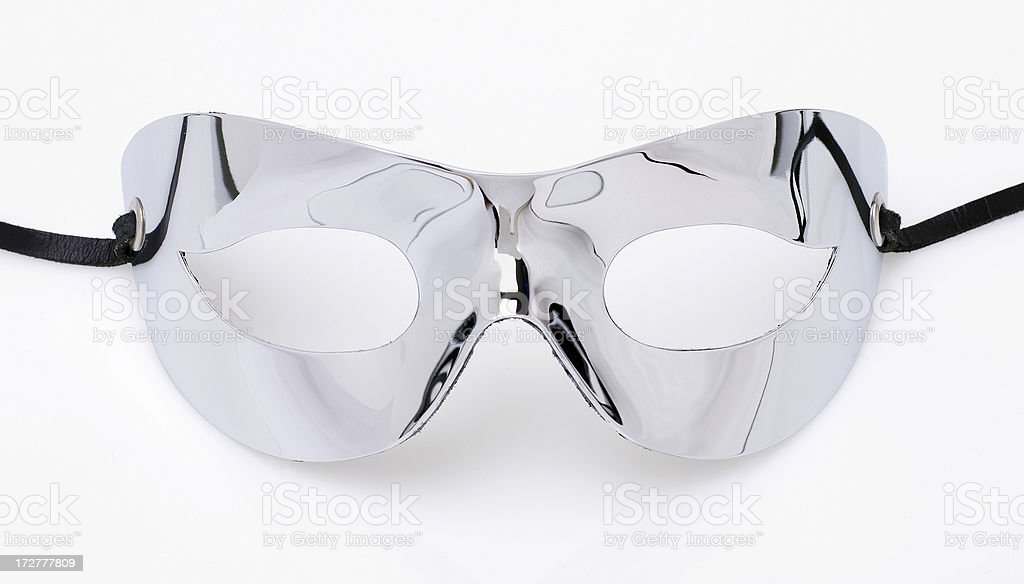 Chrome cat mask (isolated) stock photo