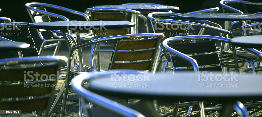 Chrome Chairs and Tables royalty-free stock photo