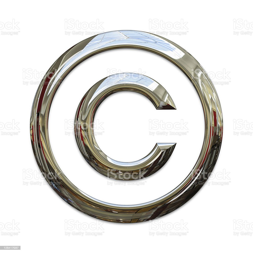 Chrome copyright symbol with clipping path stock photo