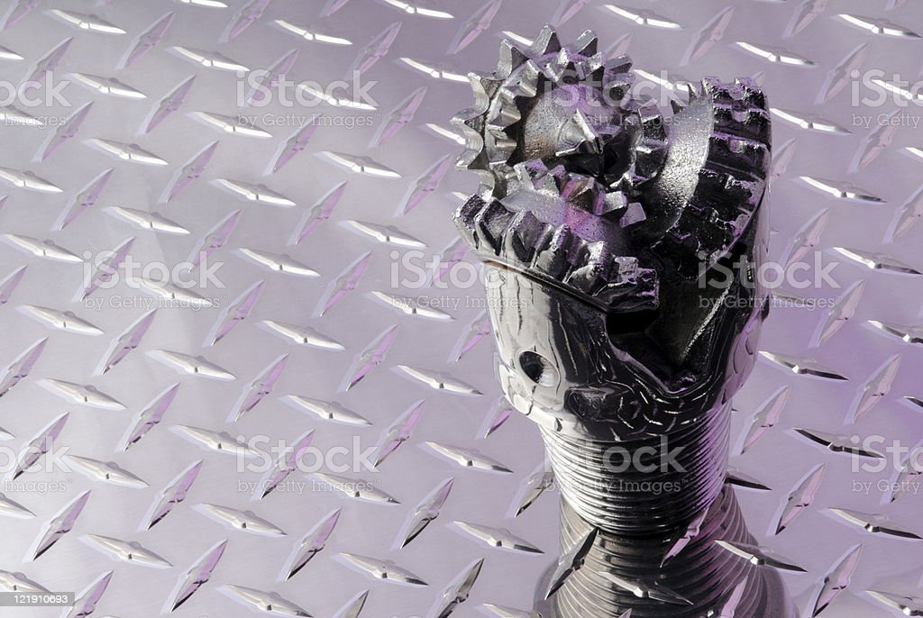 Chrome Drill bit and purle lighting royalty-free stock photo