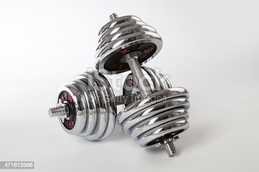 450754061 istock photo Chrome dumbbells on the white background. 471613568