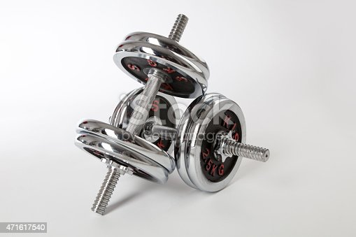 450754061 istock photo Chrome dumbbells on the white background. 471617540