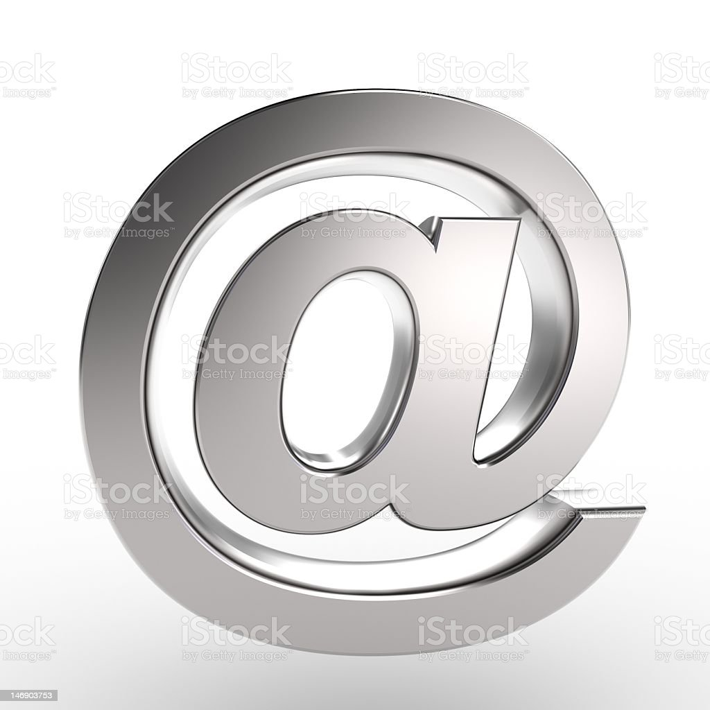A chrome email symbol isolated on white stock photo