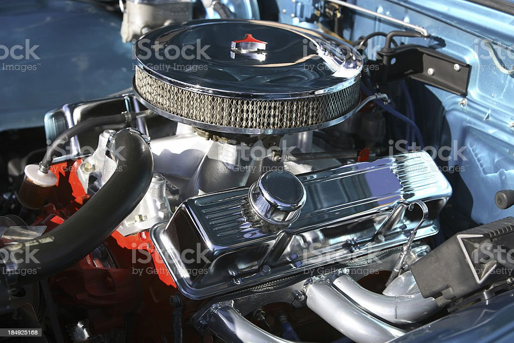 Chrome Engine Bay stock photo