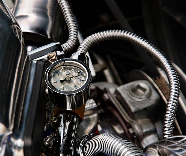 Chrome Engine Gauges stock photo