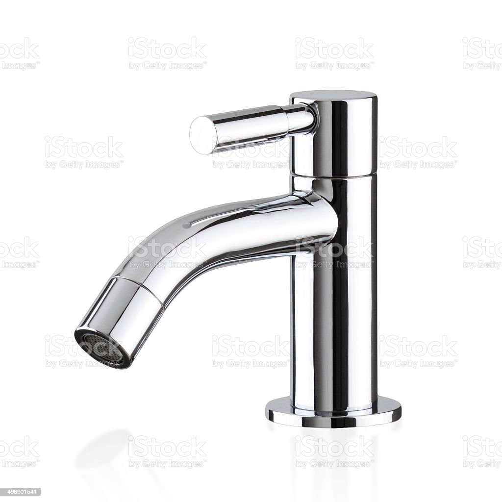 Chrome faucet isolated stock photo