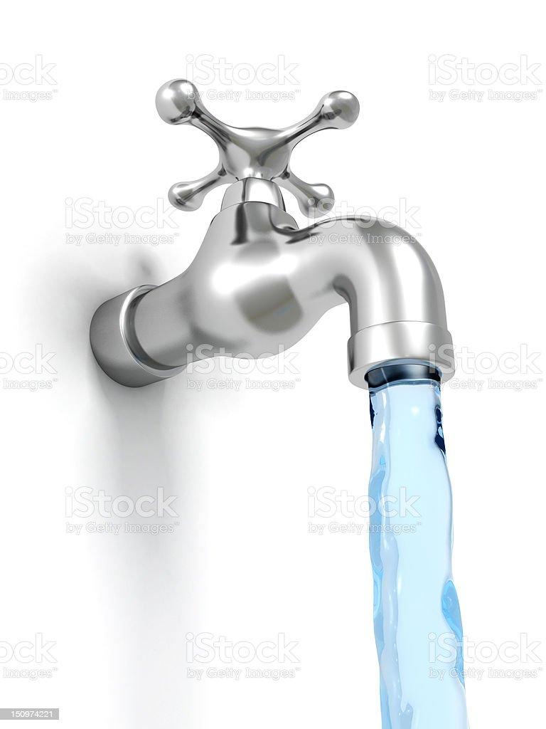Chrom Wasserhahn und Wasserstrahl auf weißem Hintergrund – Foto