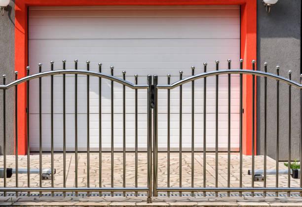 Chrome fence gate stock photo