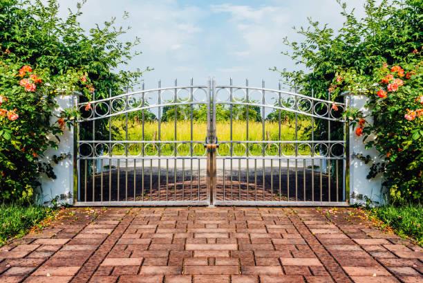 Chrome fence gate. stock photo