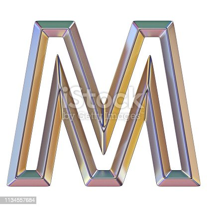 istock Chrome font with colorful reflections Letter M 3D 1134557684