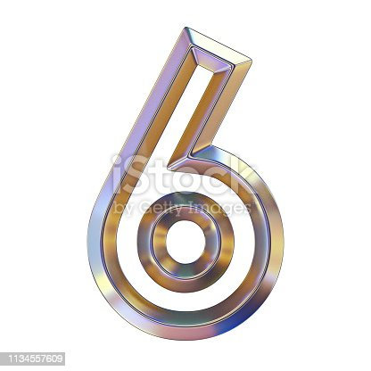 istock Chrome font with colorful reflections Number 6 SIX 3D 1134557609