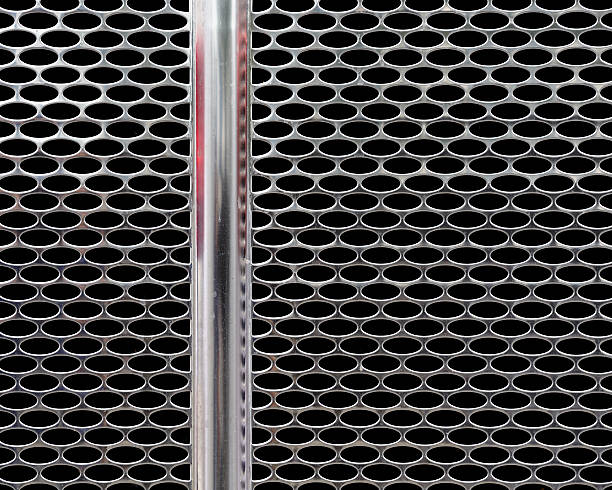 Chrome front grill of truck stock photo