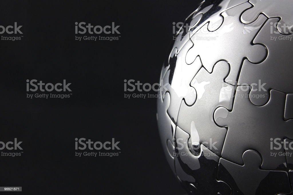 Chrome globe jigsaw completed stock photo