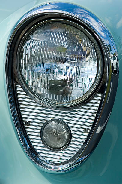 chrome headlamp 1 stock photo