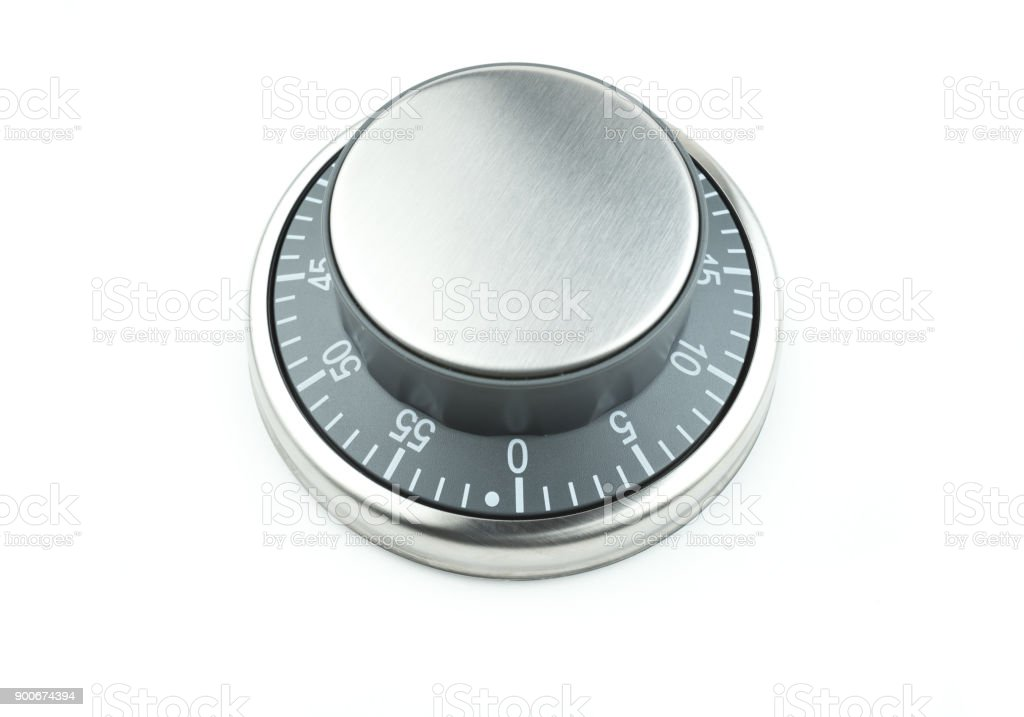 Chrome kitchen egg timer / cooking timer on a white background stock photo