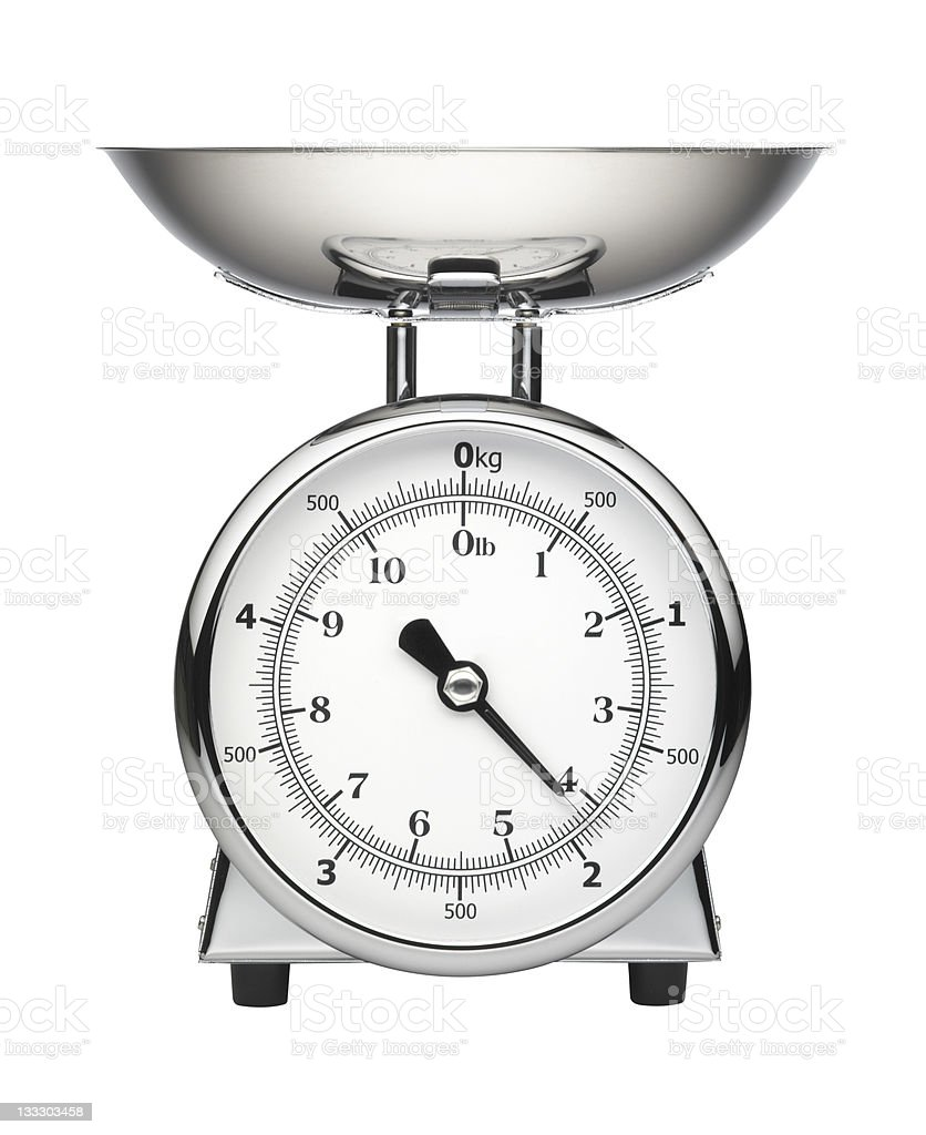 Chrome Kitchen scale isolated on white royalty-free stock photo