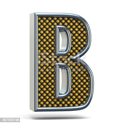 istock Chrome metal orange dotted font Letter B 3D 907305198