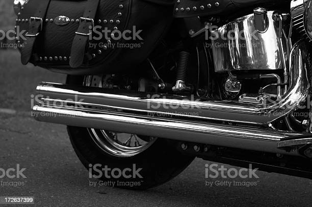 Chrome Motorcycle Closeup in B&W