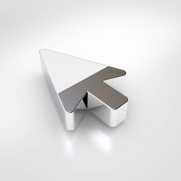Icono de puntero de mouse de cromo aislado sobre fondo blanco. - foto de stock