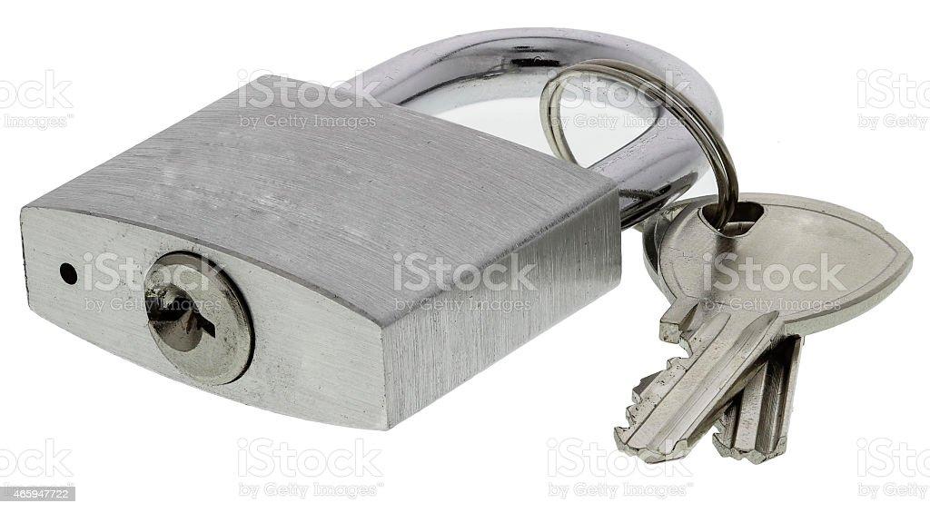 Chrome padlock with keys stock photo