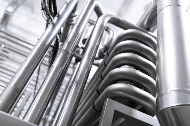Chrome pipes close-up. Industrial background stock photo