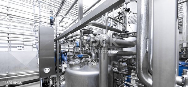 1132919442istockphoto Chrome pipes close-up. Industrial background 1132919438
