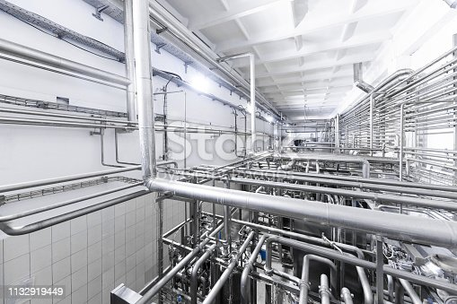1132919442istockphoto Chrome pipes close-up. Industrial background 1132919449