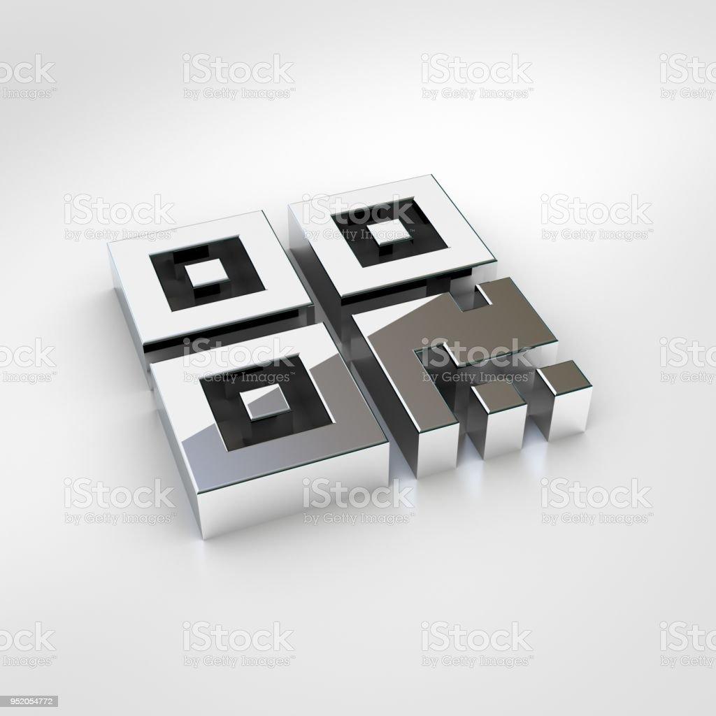 Chrome Qr Code Icon Isolated On White Background Stock Photo