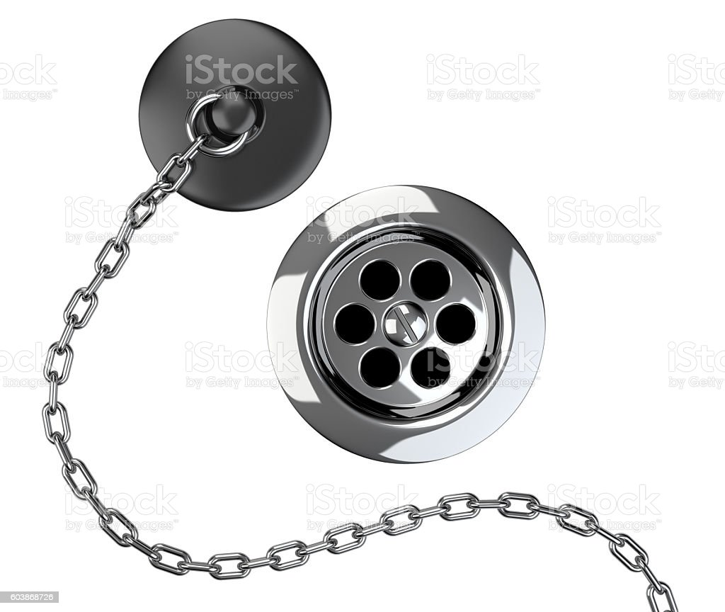 Chrome sink drain and rubber plug with chain stock photo