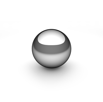 Chrome sphere on white background with circular highlight or reflection
