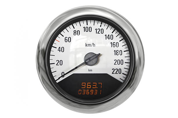 Chrome sport speedometer stock photo