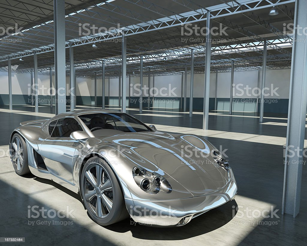 Chrome Sports car in Factory stock photo