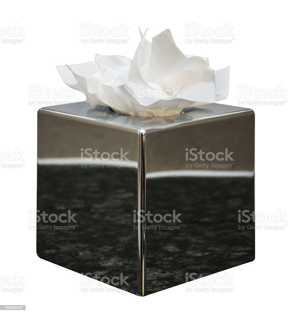 Chrome caixa de lenços de papel isolada no branco - foto de acervo