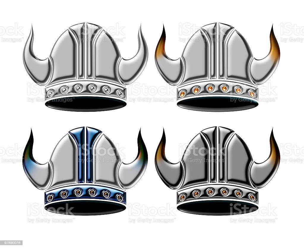 Chrome Viking Helmets royalty-free stock photo