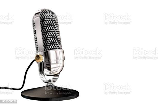 Chrome vintage microphone on table top stand picture id924055328?b=1&k=6&m=924055328&s=612x612&h= fxr68cq4gy9mdmjckdizszonhhwhteqz dgrz703q4=