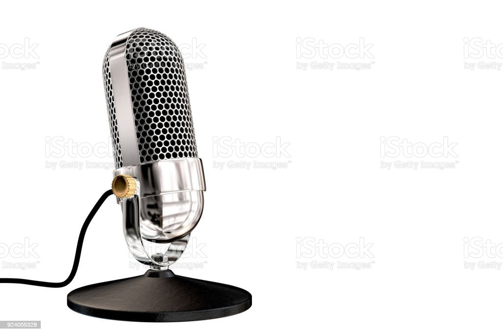 Chrome vintage microphone on table top stand stock photo