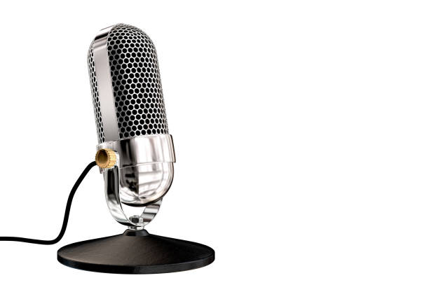 chrome vintage microphone on table top stand - radio foto e immagini stock