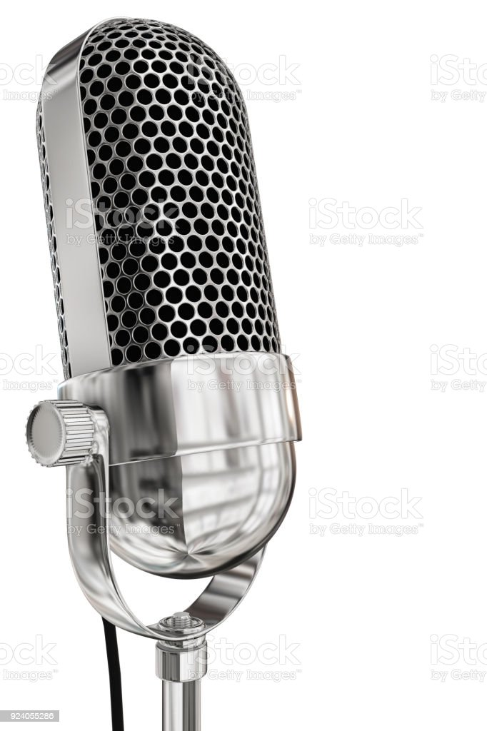 Chrome vintage microphone with a white background stock photo