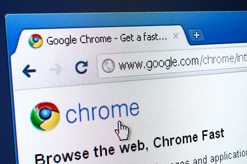 Izmir, Turkey - March 27, 2011: Close up of Google Chrome Web Browser web page on the web browser. Chrome is widely used web browser developed by Google.