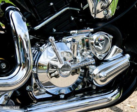 Shiny chrome on a motocycle.