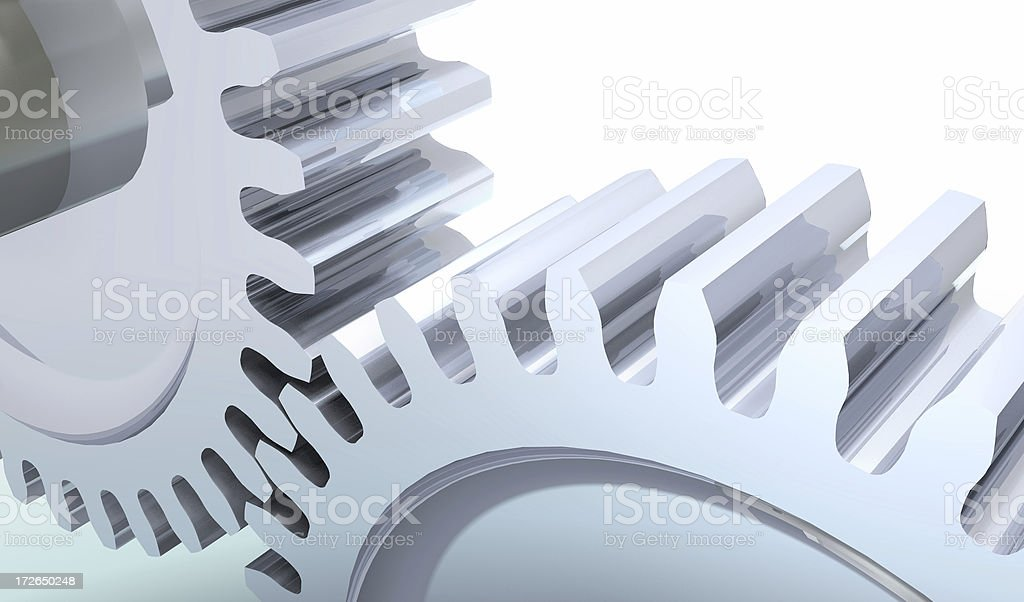 chromed gears in action white cold background royalty-free stock photo
