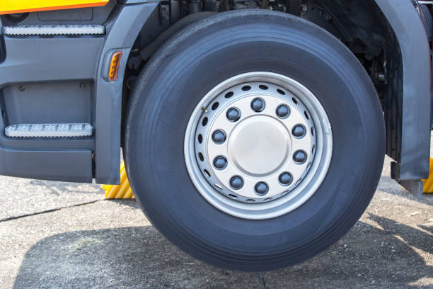 Chromed Truck Wheel Closeup. Heavy Duty Semi Truck Wheel. stock photo