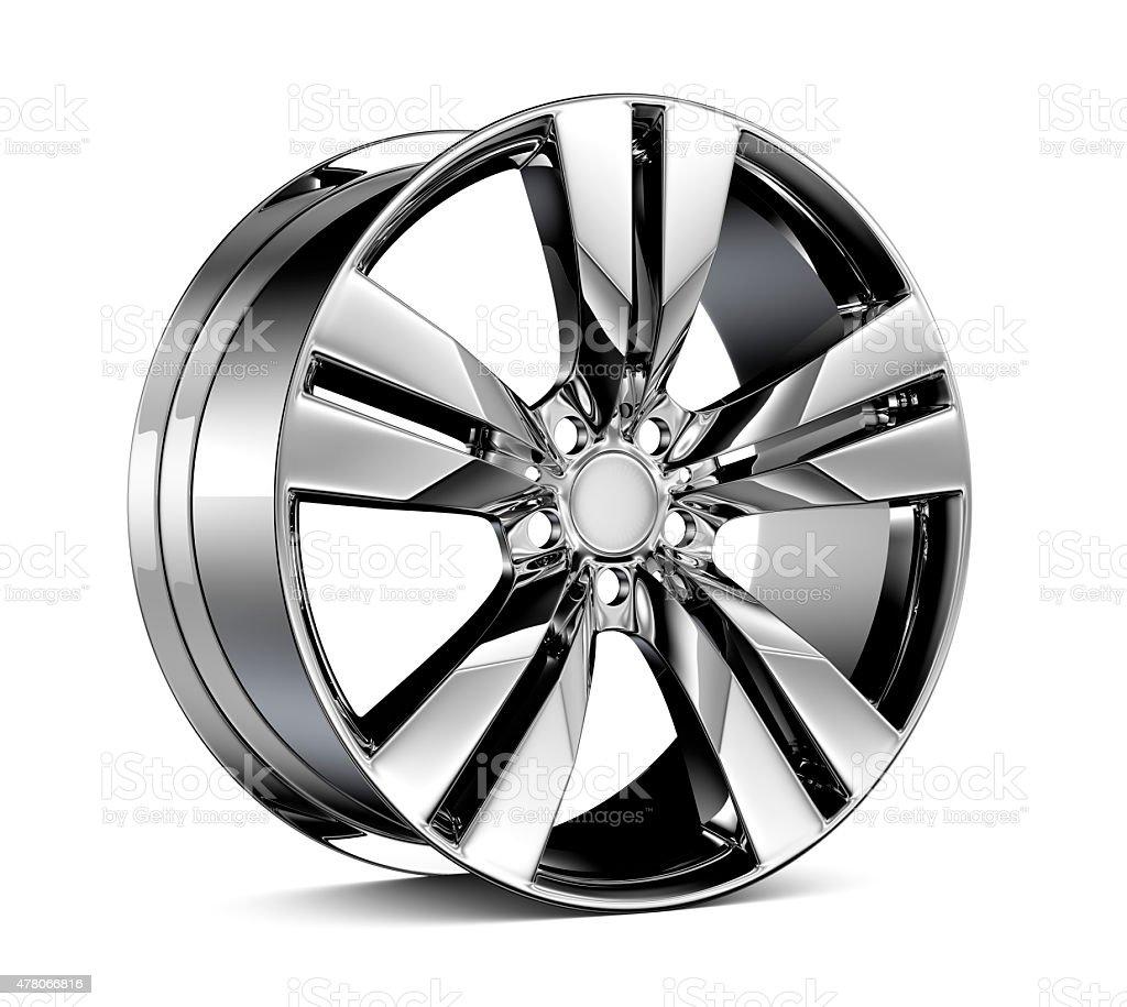 Chromed wheel Rim isolated on white stock photo