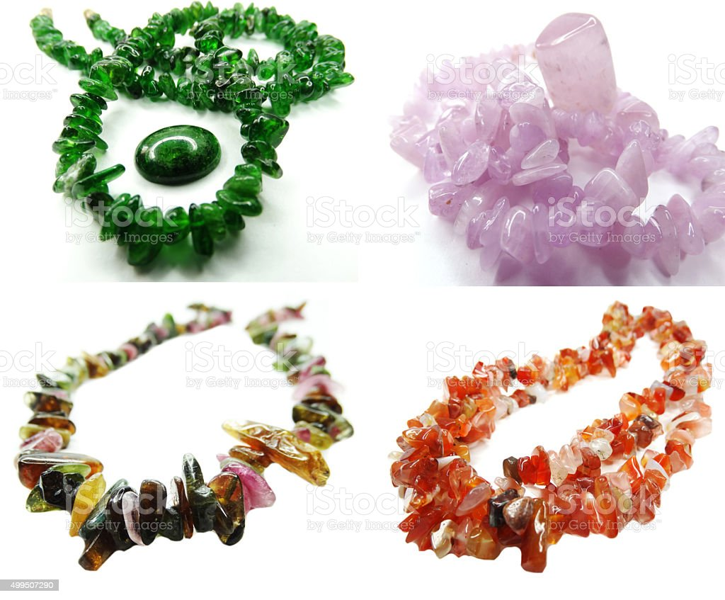 chrome-diopside gemstone beads necklace jewelery collage stock photo