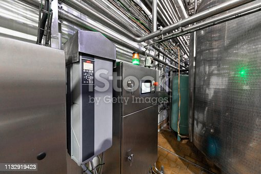 1132919442istockphoto Chrome-plated pipes, wires and devices. Industrial background 1132919423