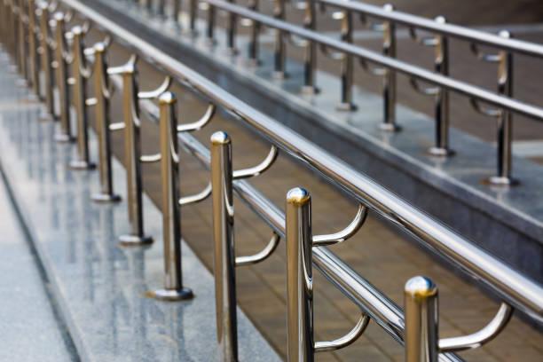 Chromium metal handrail stock photo