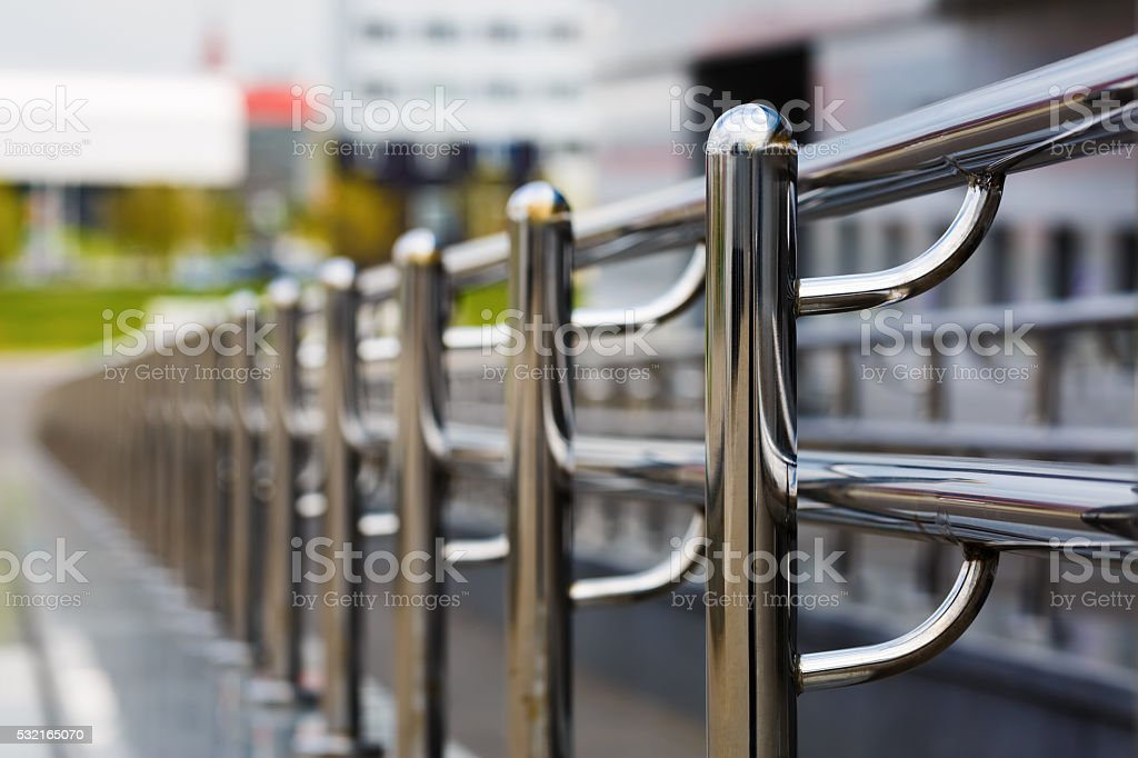 Chromium metal railings stock photo